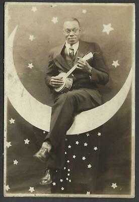 Real Photo Man with Banjo Ukele Paper Moon Drechsler Baltimore Studio RPPC 1935