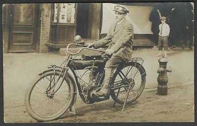Real Photo Postcard Indian Motorcyle and Rider Cap & Goggles RPPC 1918