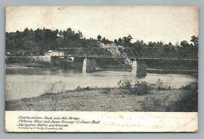 Shepherdstown WV Wood Railroad Bridge~Potomac River~Rumsey Steamboat 1906