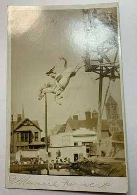 VINTAGE PHOTO POSTCARD RARE NATIVE AMERICAN PERFORMER ON HORSE, DIVE TOWER