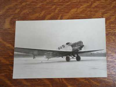 Vintage RPPC P.L.L. AERLOT (Polish Airline) Airplane real photo postcard