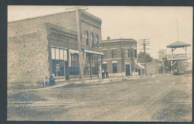 Front and N 3rd St, Fisher, IL RPPC real photo picture postcard Champaign Count