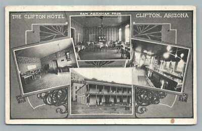 Hotel CLIFTON Arizona~Antique Saloon Bar PC Sam Abahama~Jewish Owner 1910s