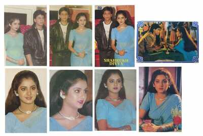 Bollywood actors Divya Bharti Bharati & Shahrukh Lot 8 Rare postcards post cards