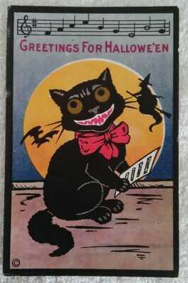 Antique 1913 H.M. Rose Unused Halloween Postcard Grinning Cat Sparkling Eyes Old