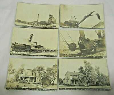 (4) Real Photo Postcards  Casparis Stone Co. Fairmount,Ill. Train,Shovel,1910