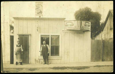 NICE RPPC Real Photo 1907 Shoe Repair Shop Oxnard CA w/ Shoe Advertising Signs