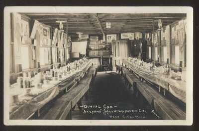 RP Postcard SIGMA MI  Stearn's Salt & Lumber Railroad Dining Car Interior 1910's