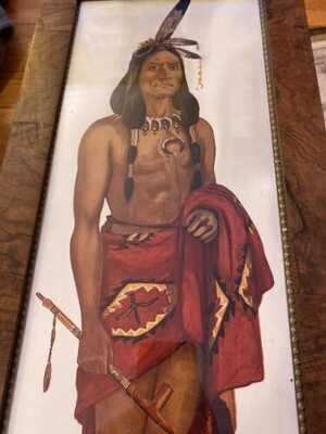 Doe Wah Jack 1914 Tigers Eye Maple Frame Round Oak Native American Chief Advert