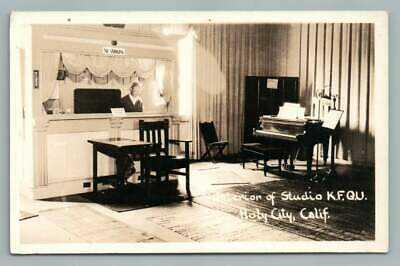 Holy City Radio Studio KFQU Santa Cruz RPPC Christian Cult Interior Photo 1930s