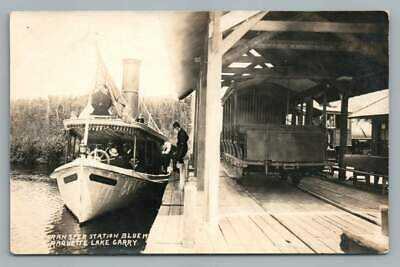 Transfer Station~Blue Mountain RAQUETTE LAKE Carry RPPC Adirondacks Ship Photo