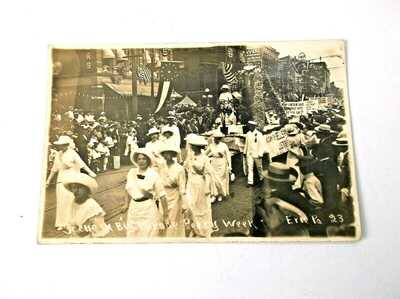 Antique RPPC Perry Week Parade Suffragettes Erie Pa Unposted 4 1/4 x 6 1/2 inche