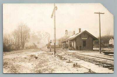 Locomotive Train Station LOSTANT Illinois RPPC Railroad Depot Photo CU Williams