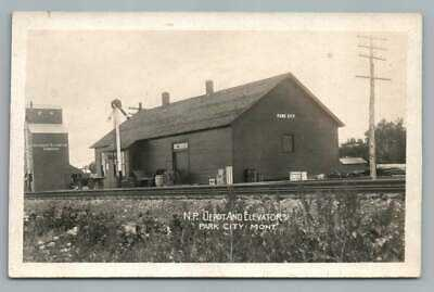 Railroad Depot PARK CITY MT Photo RPPC Stillwater Train Station Grain Elevator