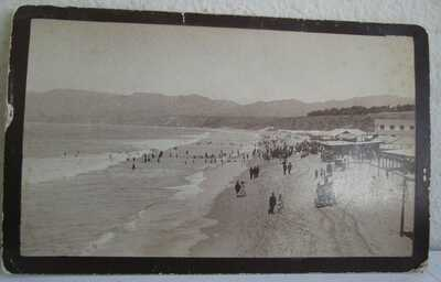 1880's CDV Santa Monica Beach & Beer Garden - Horse Carts & People 4 1/2 x 8
