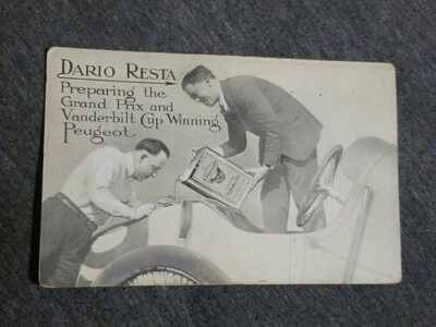 VTG RPPC 1916 POSTCARD DARIO RESTA PEUGEOT GRAND PRIX CUP CHAMP OILZUM MOTOR OIL