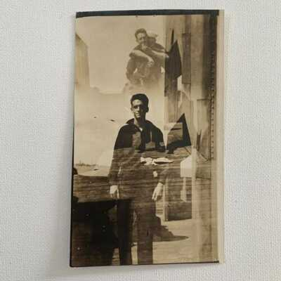 Antique RPPC Real Photograph Postcard Handsome Navy Sailor Odd Funny Gay Int