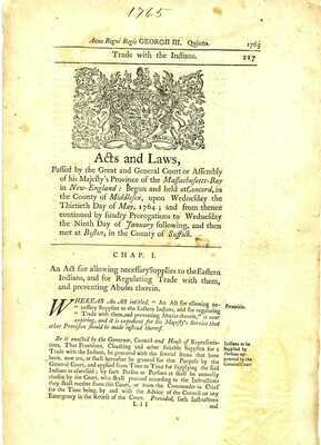 1765 Acts & Laws>ALLOWING SUPPLIES TO EASTERN INDIANS & TRADE PREVENTING ABUSES