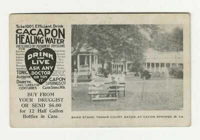 RARE EARLY CAPON SPRINGS WV CACAPON BOTTLED SPRING WATER ADVERTISING PCARD