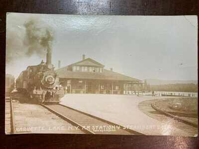 RPPC-RAQUETTE LAKE NY-RR Station & Steamboat Dock-Posted 1948-ADIRONDACKS
