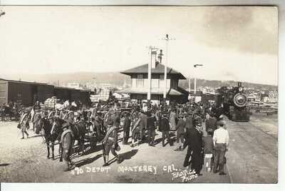 RPPC Monterey CA SP Train Depot near Pacific Grove Carmel Seaside 1910 Photo