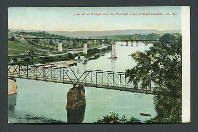 SHEPHERDSTOWN, WV. - VIEW 0F TWO POTOMAC RIVER  BRIDGES  - EARLY POSTCARD