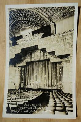 interior Grauman's Egyptian Theater Hollywood CA real photo postcard rppc