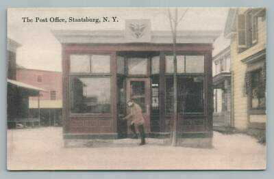 Post Office STAATSBURG NY Hyde Park Dutchess County Antique Hand Colored 1910s