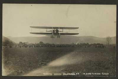 RPPC Postcard, Biplane, Rodgers Leaving Salamanca NY in Ocean to Ocean Flight