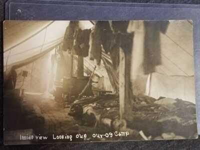 RARE 1909 Emerald Bay LAKE TAHOE Cali Hunting Camp Tent REAL PHOTO POSCARD RPPC