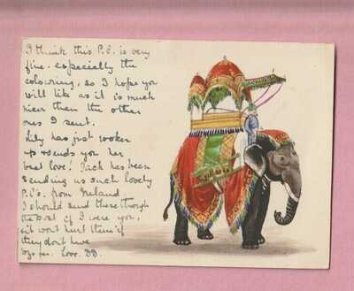 India, Elephant, Hand drawn Court card, Early postcard
