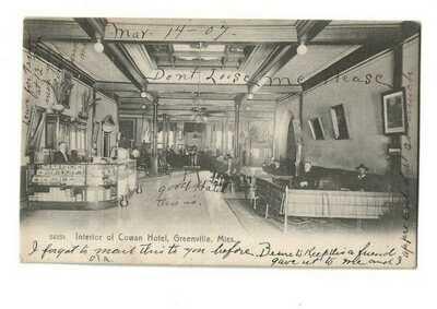 SCARCE 1907 GREENVILLE MISSISSIPPI COWAN HOTEL INTERIOR - MUCH DETAIL - SPITOONS