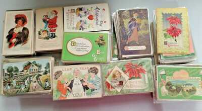 1000 Postcards Lot Holidays, greetings. 1905-1930s. Also topicals