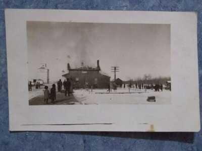 1914? POSTCARD LEDUC ALBERTA CANADA RAILROAD TRAIN DEPOT STATION FIRE DISASTER