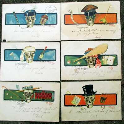 1905 Blaesi & Bell Postcard Set of 6 SKULLS Halloween? VICES Vintage GAMBLING