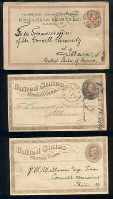 TEN 1870's 80's CORNELL POSTCARDS CORNELL UNIVERSITY ITHACA NY