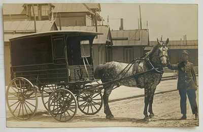 NJ RPPC Postcard Smith's Studio Cape May Strawbridge & Clothier Horse Wagon AZO