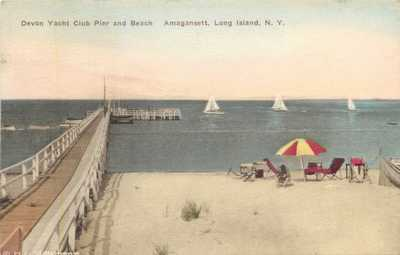 Handcolored View, Devon Yacht Club & Beach, Amagansett, Long Island, New York NY
