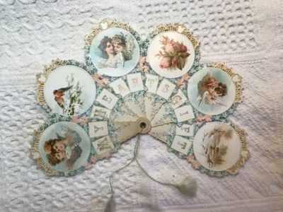 Elaborate Antique Victorian Valentine's Day Fan Forget Me Nots