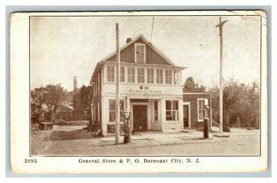 General Store, Post Office Gas Station Pumps, Barnegat City NJ c1936 Postcard P2