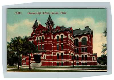 Houston TX, High School Building, Pub. Acemgraph Texas c1910 Postcard P28
