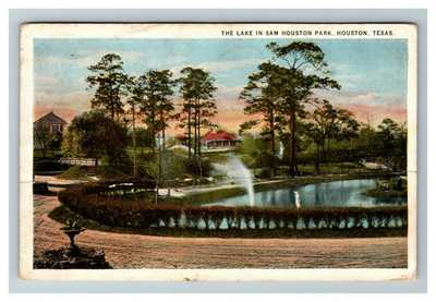 Houston TX, Lake at Sam Houston Park, AIR MAIL Biplane Texas, c1928 Postcard P27