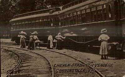 Gordonsville VA RR Train Chicken Sandwich Venders 1911 Used Postcard