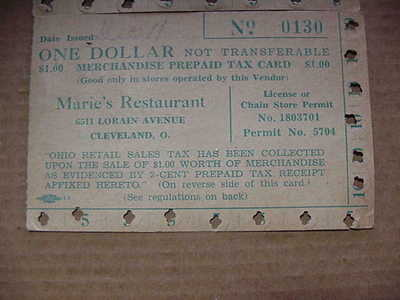 $1.00 Ohio Prepaid Tax Card.....MARIE'S RESTAURANT CLEVELAND, OHIO