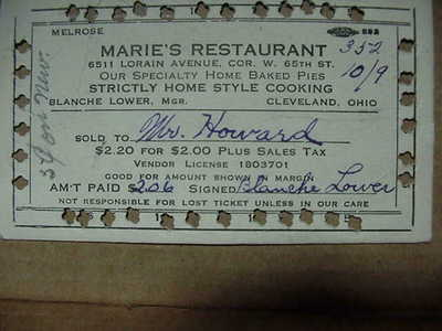 OHIO TAX CARD FROM MARIE'S RESTAURANT, CLEVELAND OHIO