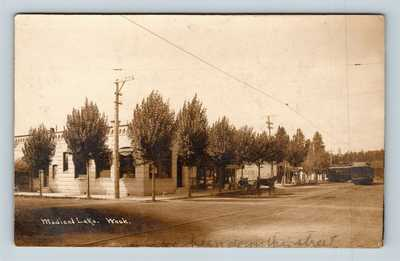 Medical Lake, WA RPPC of K&E Ice Cream, Undertaker, Trolley c1910 Postcard T11