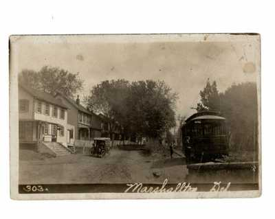 MARSHALLTON, DE RPPC~DATED 1912~TRAIN