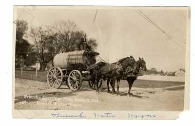 WATER WAGON NEWARK DELAWARE~RPPC~CIRCA 1910