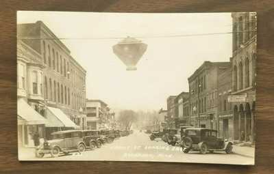 Photo Postcard Front Street Buchanan Michigan MI 1930 Street Light