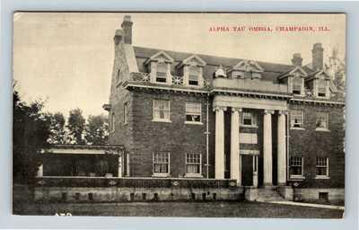 Champaign IL, Alpha Tau Omega Fraternity, c1910 Vintage Illinois Postcard Y4